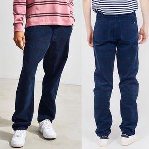 Lazy Oaf NEW Navy Checkered Plaid Corduroy Pants